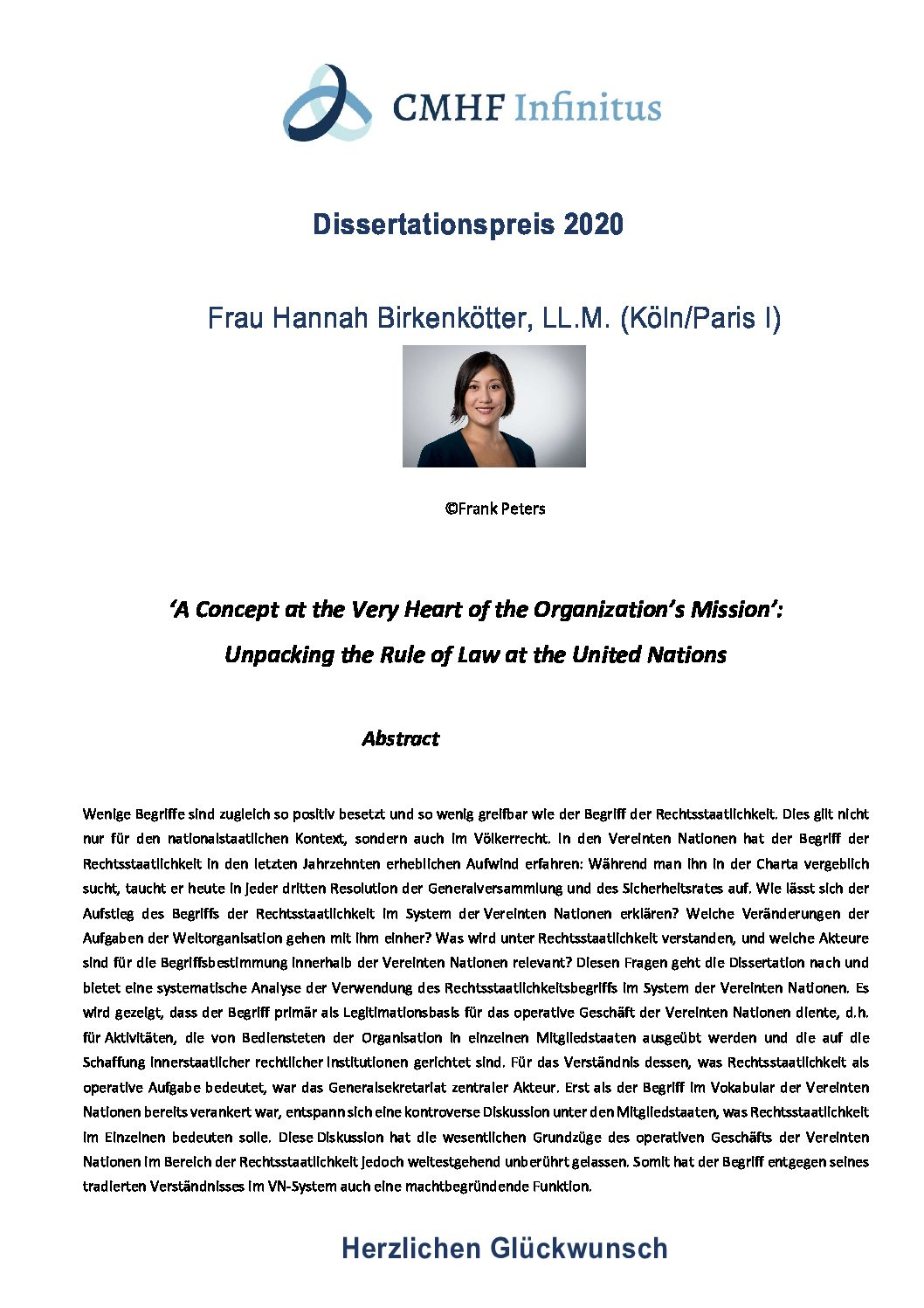 Dissertationspreis 2020